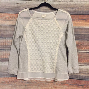Anthropologie Maison jules lace striped sweater